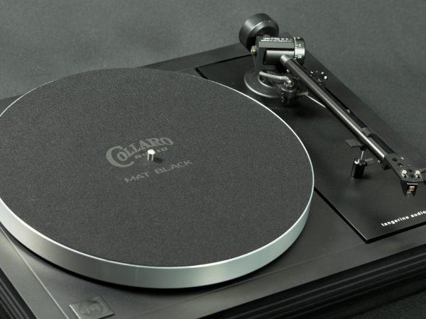 Collaro Audio Mat Black precision cloth turntable mat on a Linn LP12 with tangerine audio stiletto MK1 plinth - image