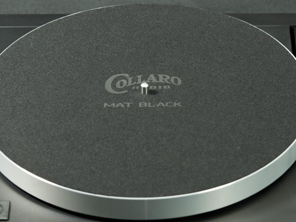 Mat Black precision cloth turntable mat on a Linn LP12 with Tangerine Audio Stiletto Mk1 plinth in black fluted finish and Tangerine Audio Phoenix subchassis, with Linn Black Ittok LVII - image
